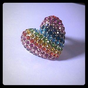 Betsey Johnson Rainbow Heart Ring